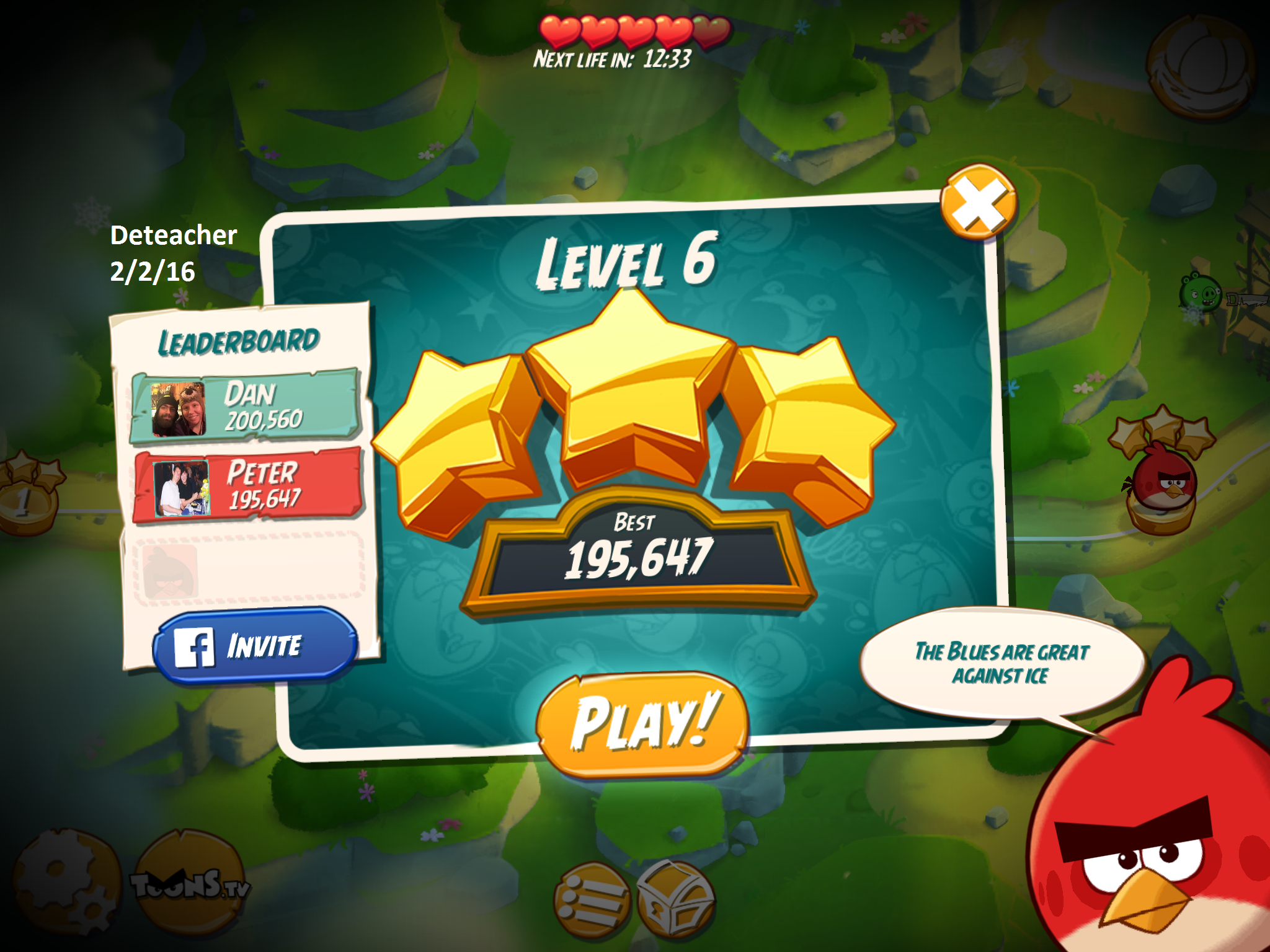 Deteacher: Angry Birds 2: Level 6 (iOS) 195,647 points on 2016-02-02 18:25:23