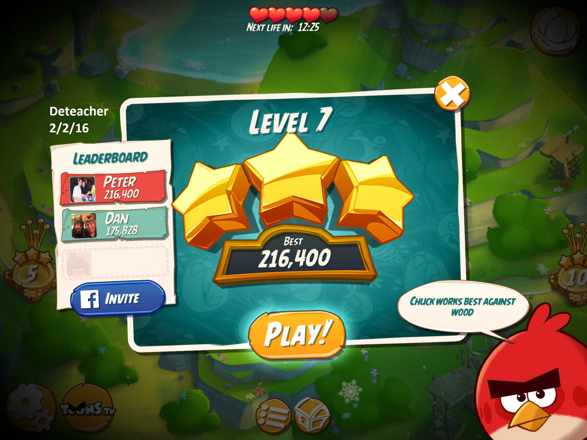 Deteacher: Angry Birds 2: Level 7 (iOS) 216,400 points on 2016-02-02 18:26:12