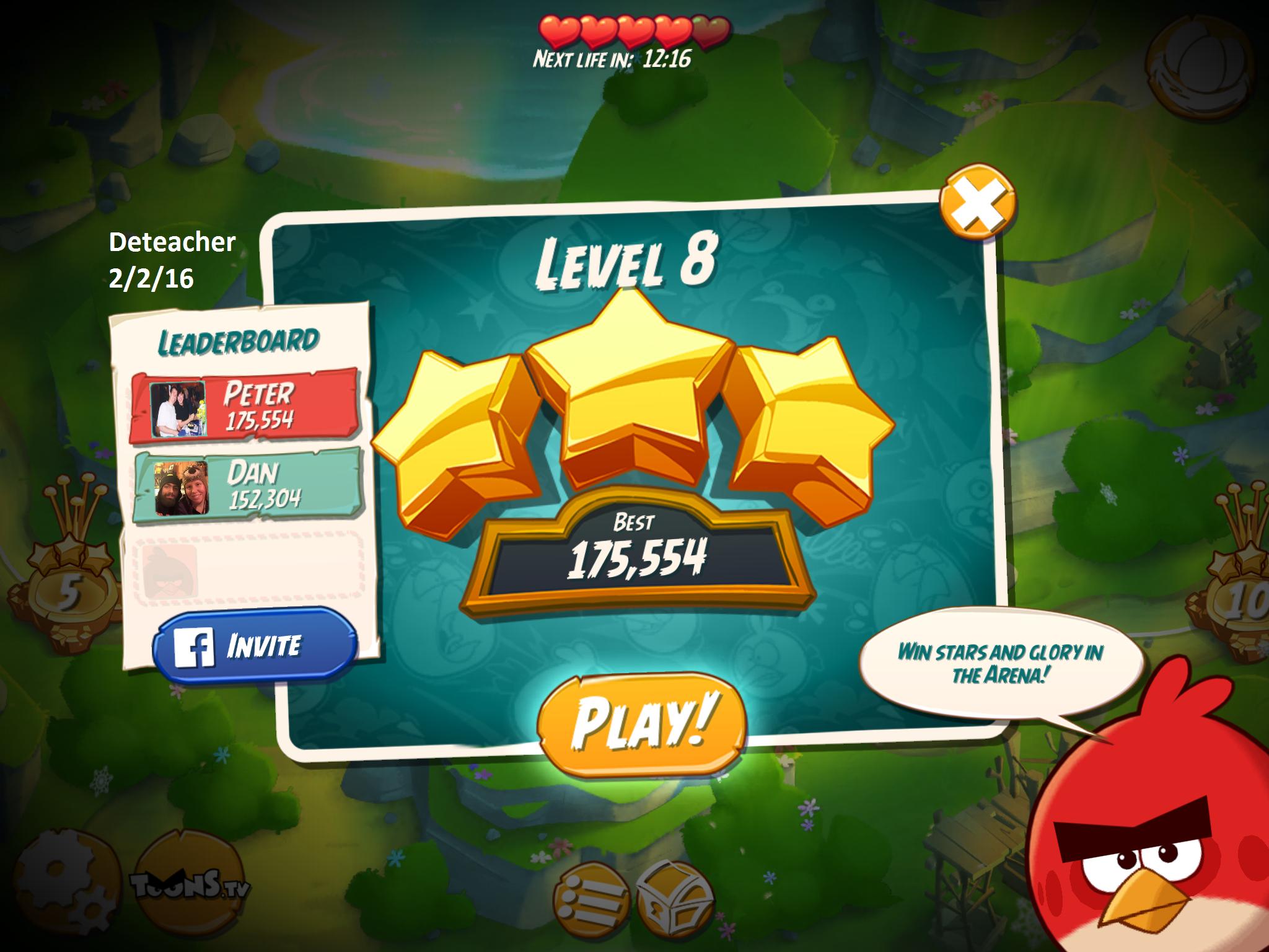 Deteacher: Angry Birds 2: Level 8 (iOS) 175,554 points on 2016-02-02 18:27:12