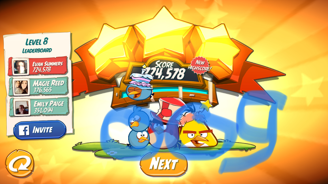 Angry Birds 2: Level 8 724,578 points