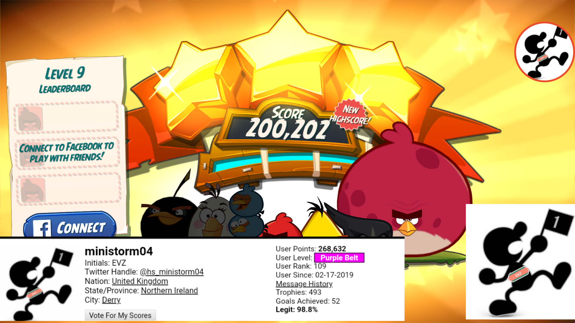 Angry Birds 2: Level 9 200,202 points