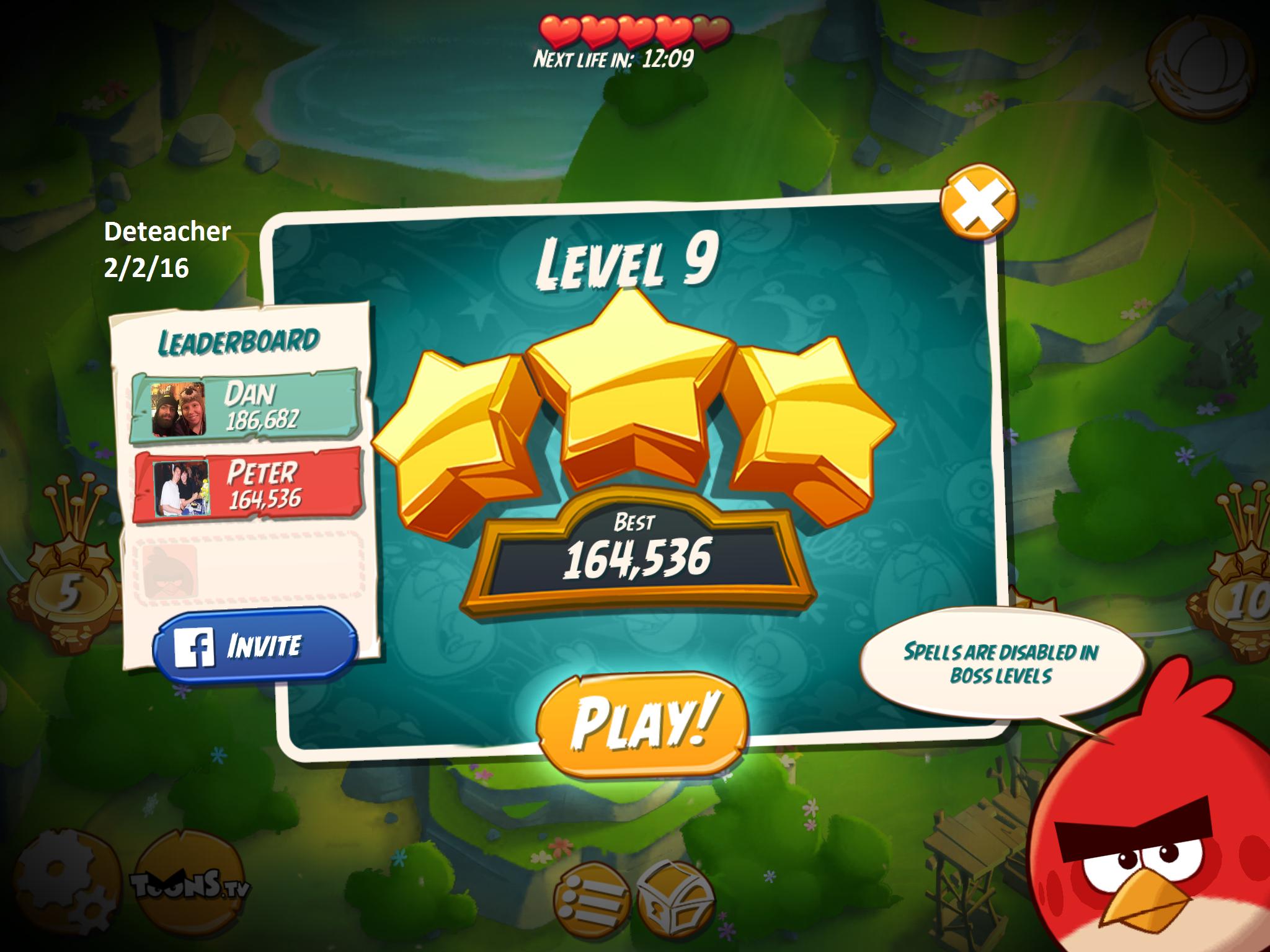 Deteacher: Angry Birds 2: Level 9 (iOS) 164,536 points on 2016-02-02 18:28:15