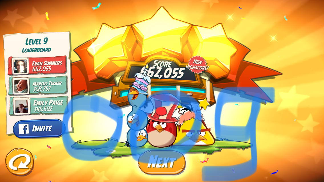 Angry Birds 2: Level 9 662,055 points
