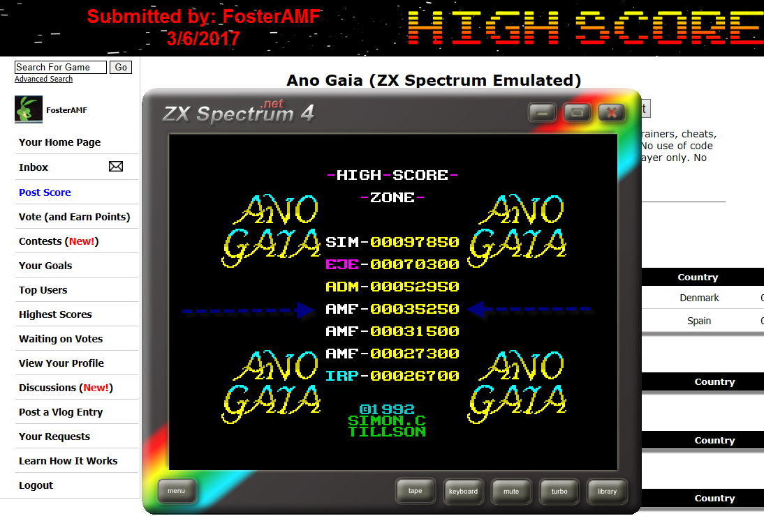 FosterAMF: Ano Gaia (ZX Spectrum Emulated) 35,250 points on 2017-03-07 01:26:01