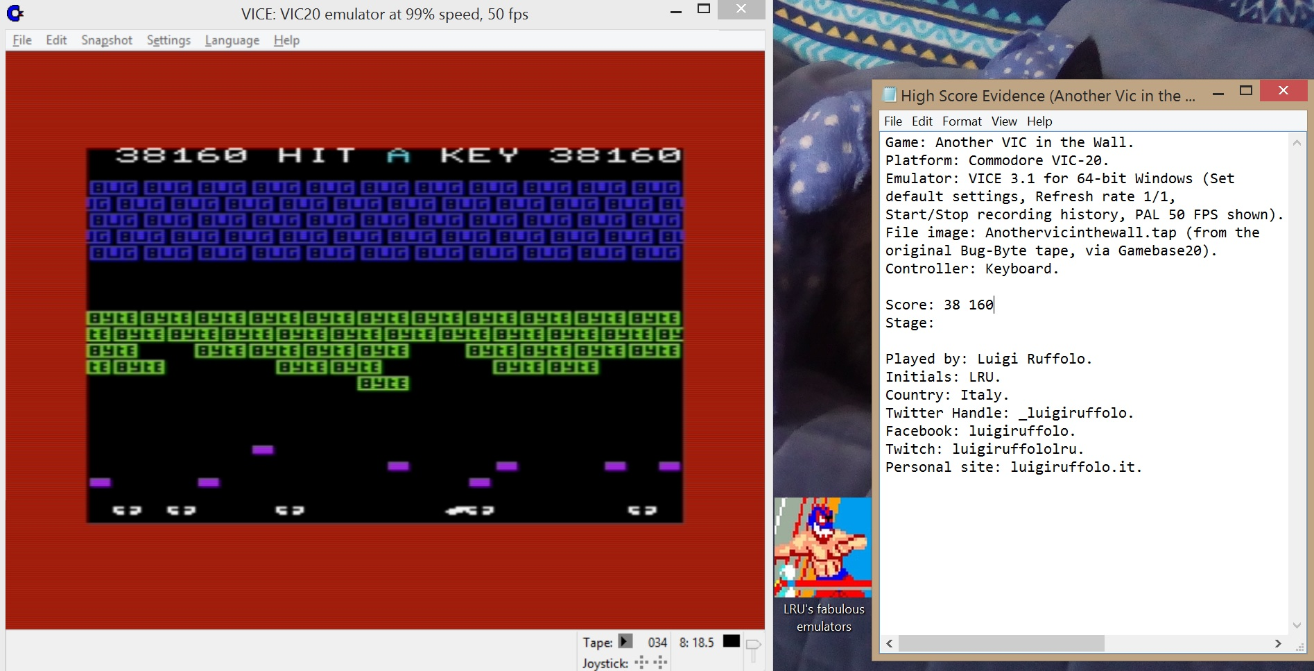 LuigiRuffolo: Another Vic In The Wall (Commodore VIC-20 Emulated) 38,160 points on 2020-07-04 05:10:23