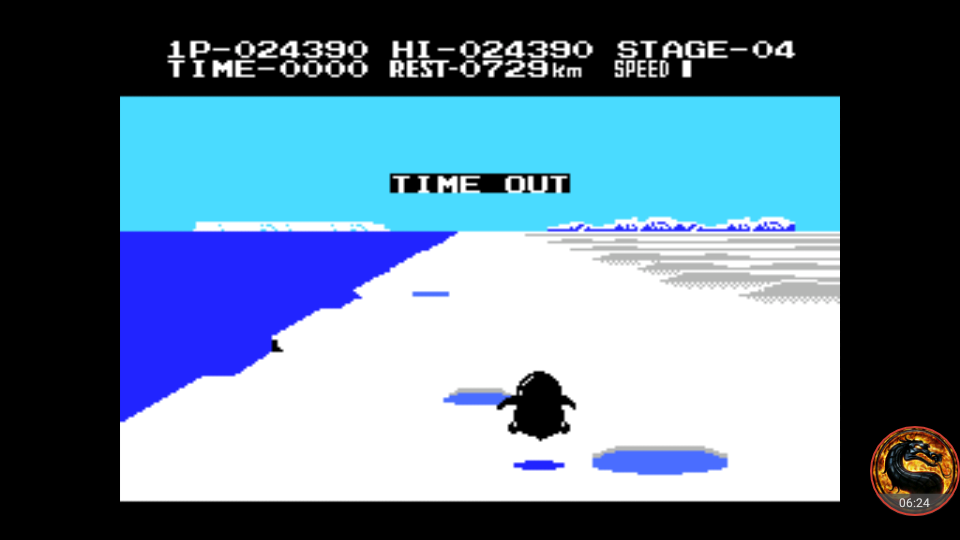 omargeddon: Antarctic Adventure [Konami] (MSX Emulated) 24,390 points on 2018-07-25 00:21:34