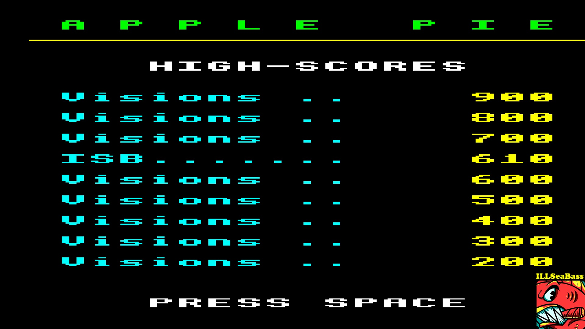 ILLSeaBass: Apple Pie (BBC Micro Emulated) 610 points on 2017-10-08 21:00:35