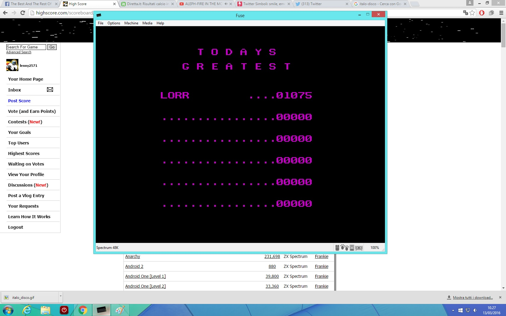 lenny2571: Aquaplane (ZX Spectrum Emulated) 1,075 points on 2016-03-13 04:28:16