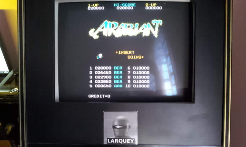 Larquey: Arabian (Arcade Emulated / M.A.M.E.) 28,800 points on 2018-06-03 11:21:18