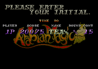 GAMES: Arabian Magic (Arcade) 20,075 points on 2020-02-02 08:57:01
