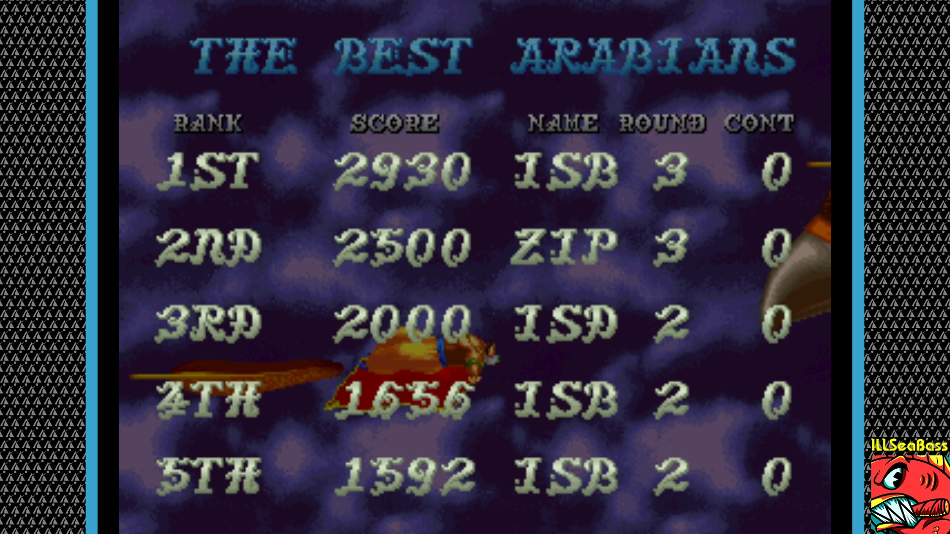 ILLSeaBass: Arabian Magic [arabianm] (Arcade Emulated / M.A.M.E.) 2,930 points on 2018-01-31 08:43:50