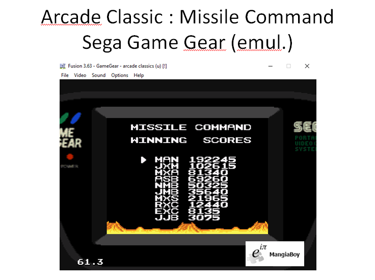 MangiaBoy: Arcade Classics: Missile Command (Sega Game Gear Emulated) 192,245 points on 2015-12-30 13:33:33
