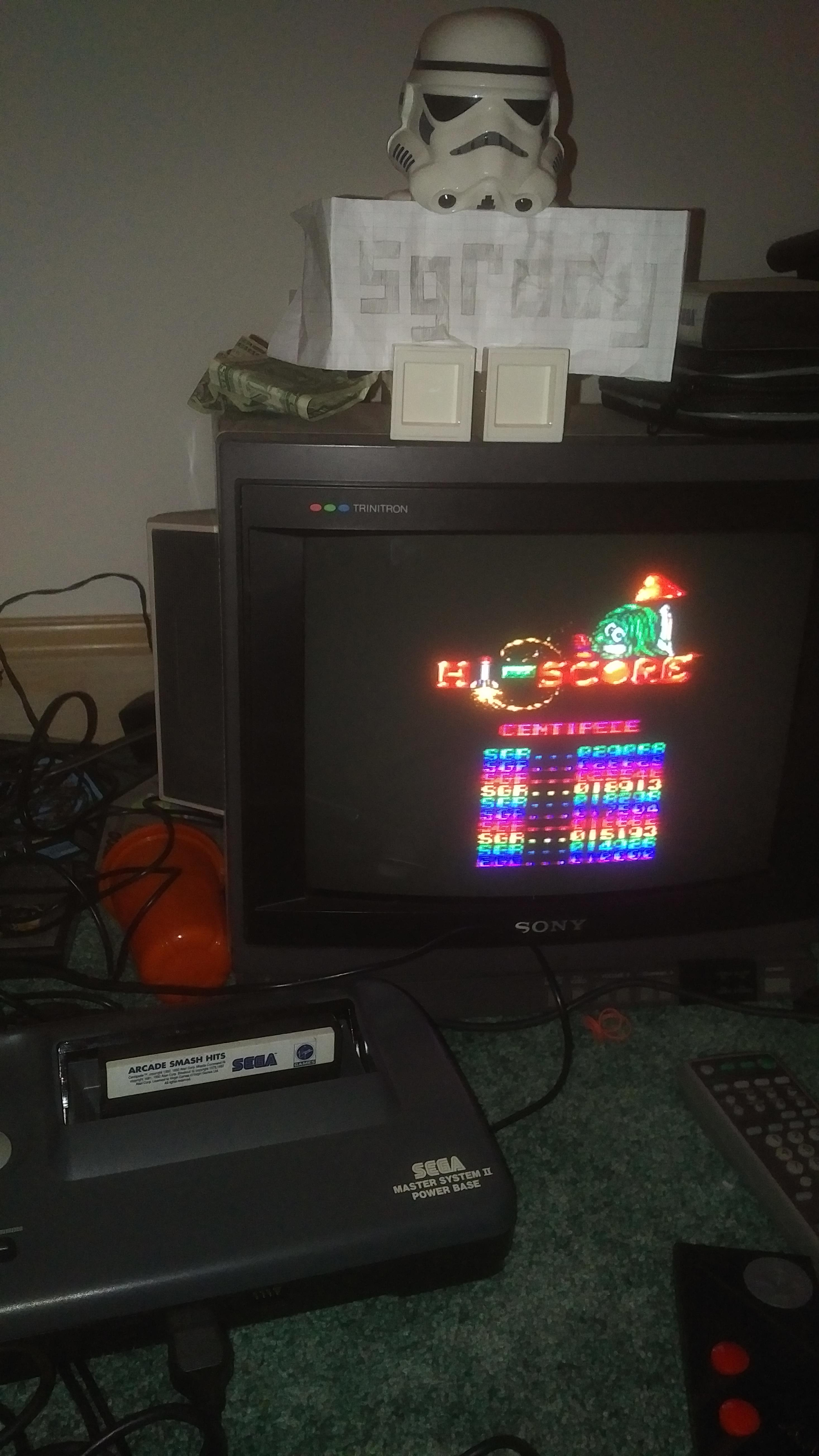 sgrddy: Arcade Smash Hits: Centipede (Sega Master System) 29,068 points on 2018-01-27 18:57:43