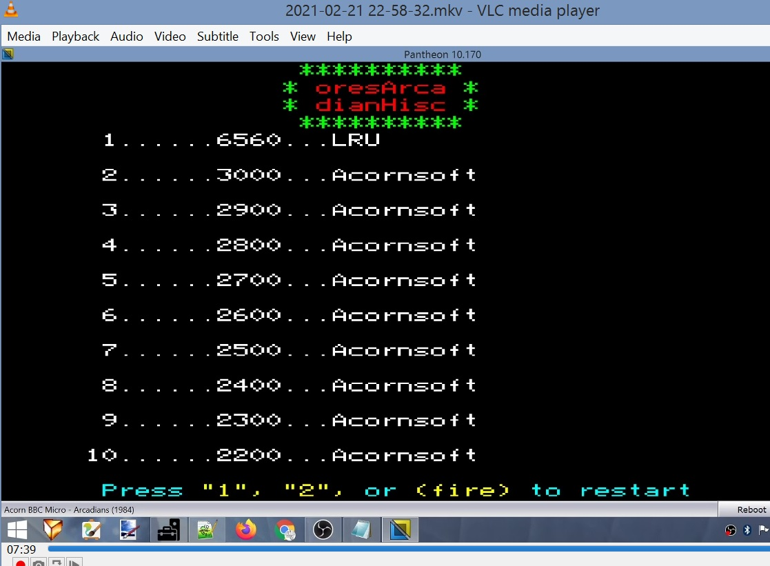 LuigiRuffolo: Arcadians (BBC Micro Emulated) 6,560 points on 2021-02-21 16:16:58