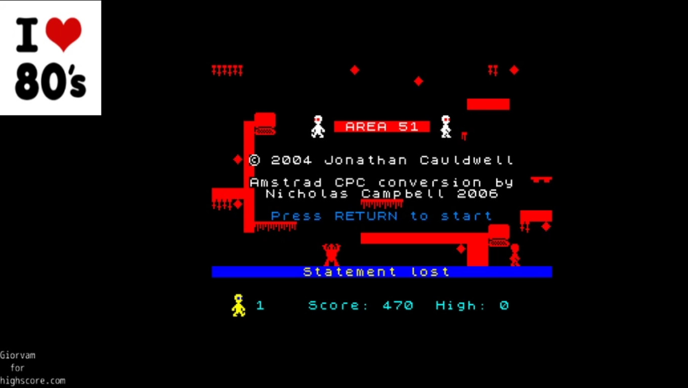 Giorvam: Area 51 (Amstrad CPC Emulated) 470 points on 2020-01-09 03:57:09