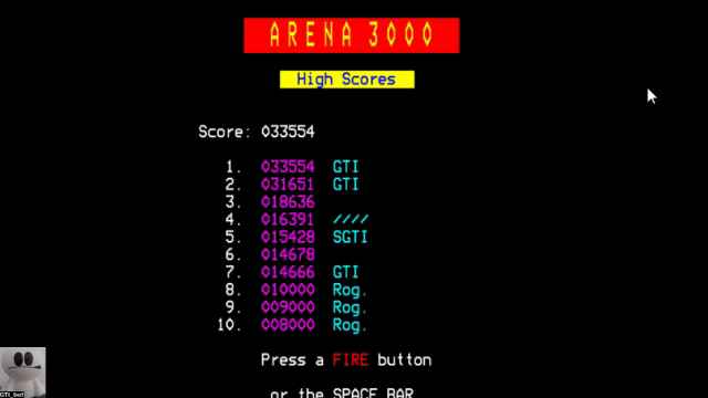 GTibel: Arena 3000 (BBC Micro Emulated) 33,554 points on 2017-11-08 07:28:07