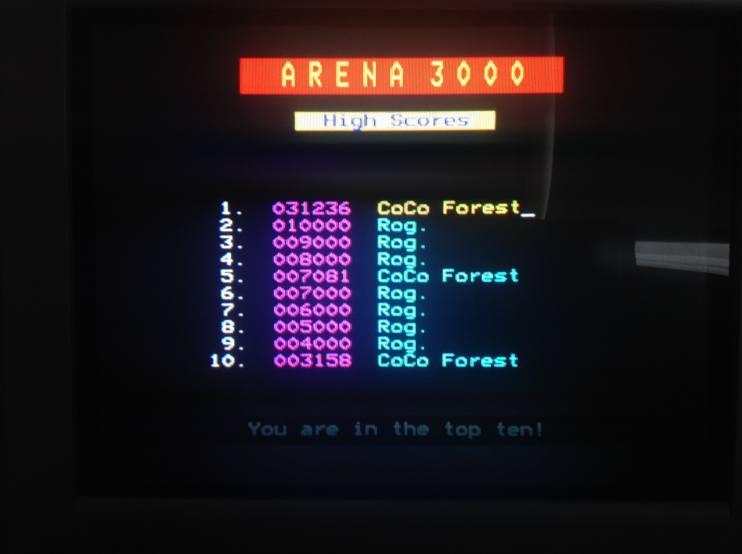 CoCoForest: Arena 3000 (BBC Micro) 31,236 points on 2018-07-12 05:01:54