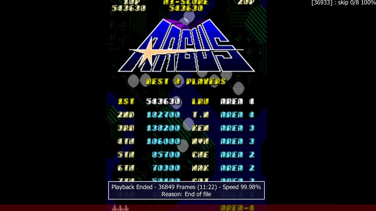 LuigiRuffolo: Argus [argus] (Arcade Emulated / M.A.M.E.) 543,630 points on 2020-12-25 04:19:53