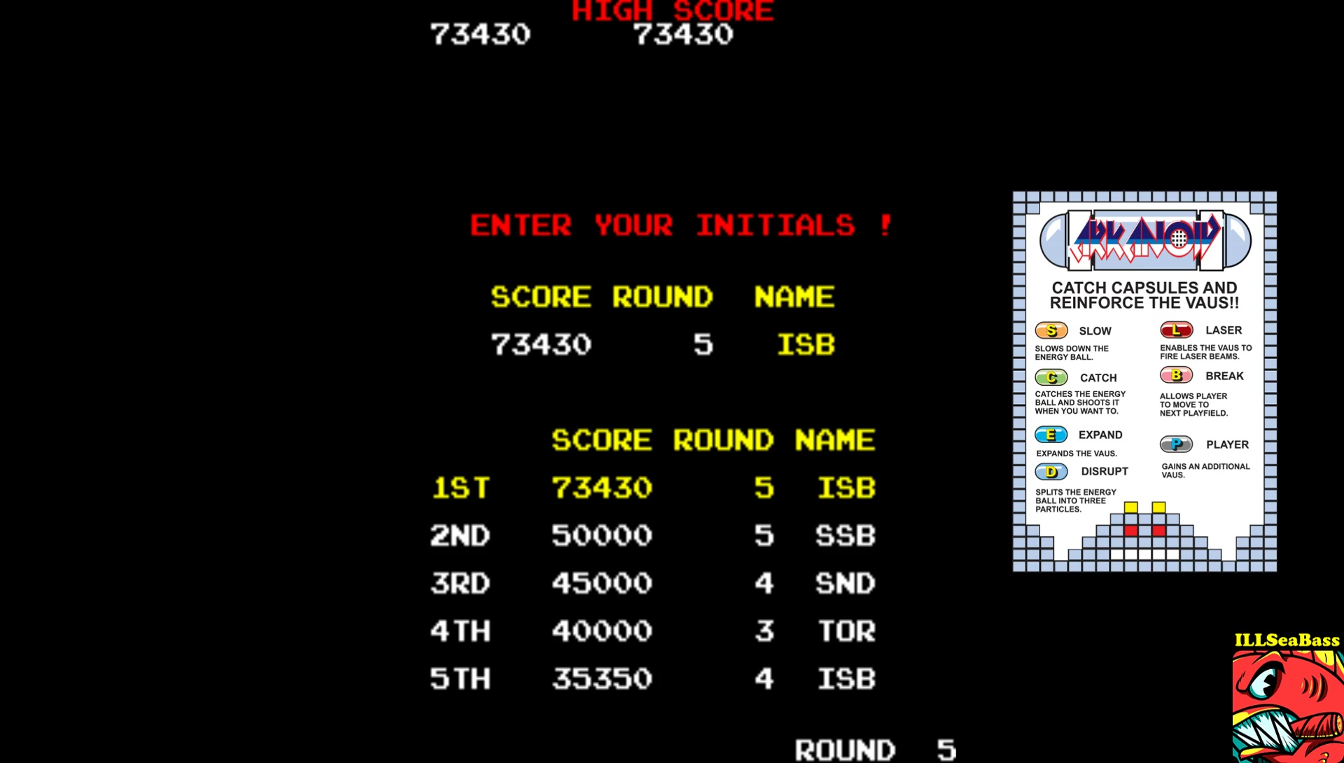 ILLSeaBass: Arkanoid (Arcade Emulated / M.A.M.E.) 73,340 points on 2017-09-05 00:15:17