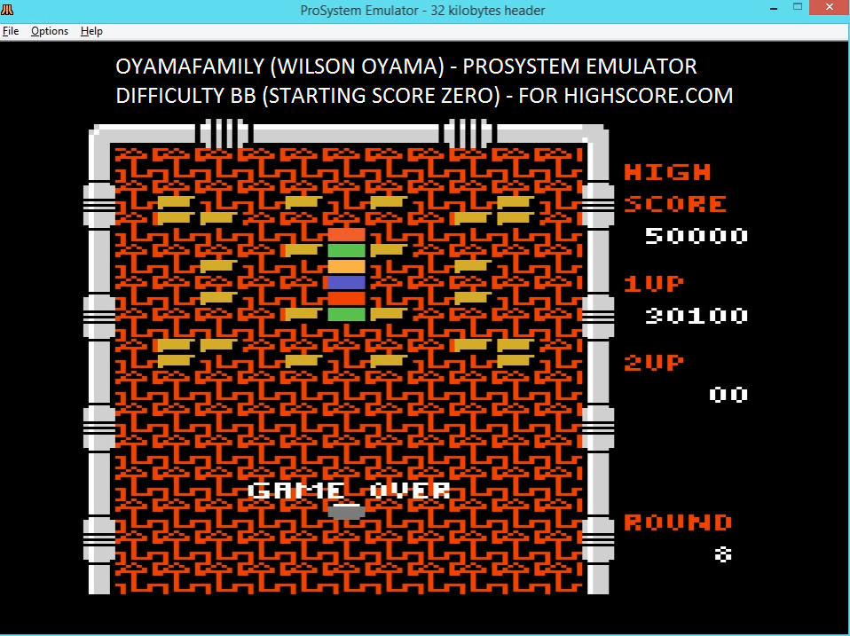 oyamafamily: Arkanoid (Atari 7800 Emulated) 30,100 points on 2016-02-17 18:39:14