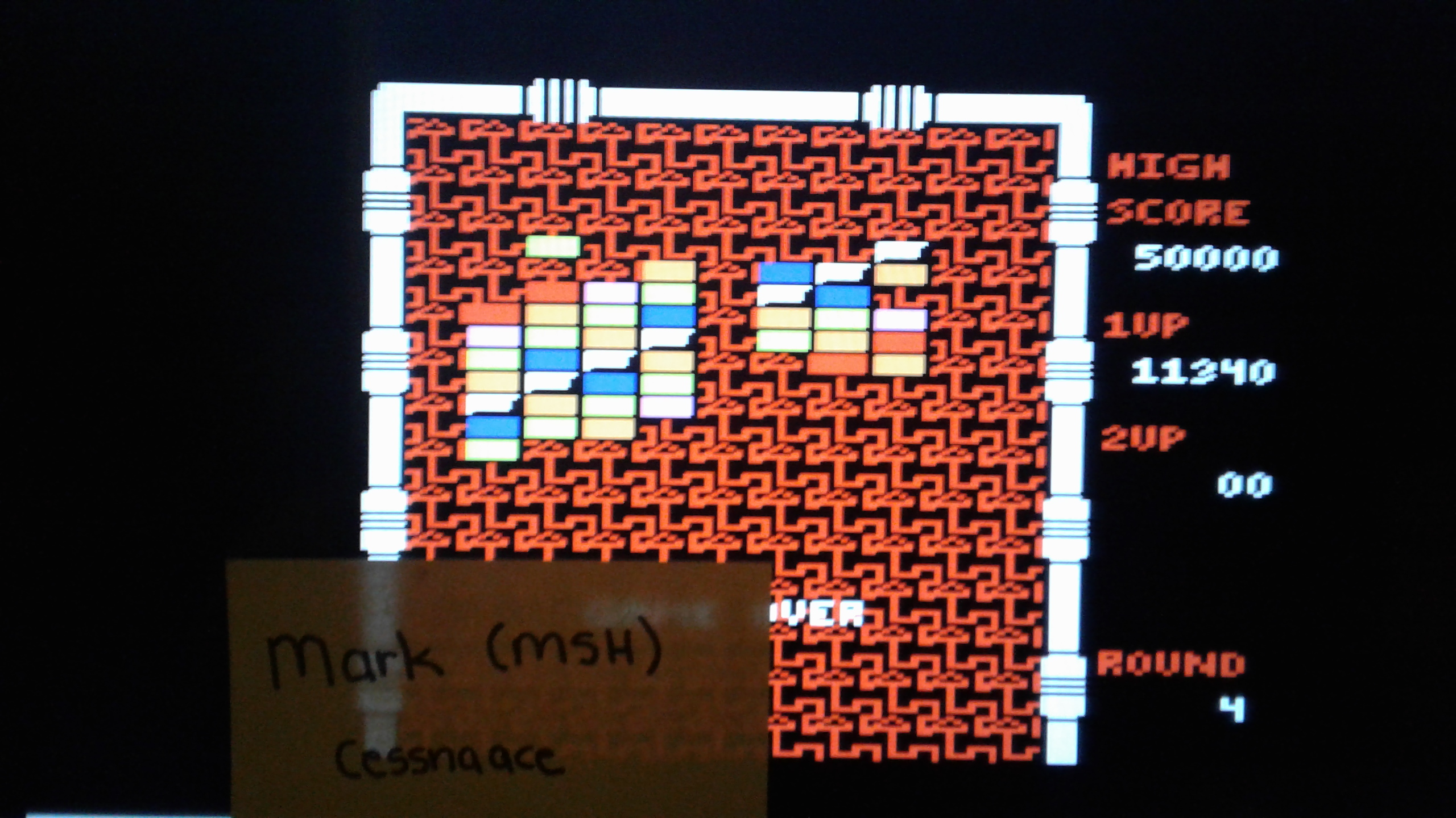 Mark: Arkanoid (Atari 7800 Emulated) 11,340 points on 2019-05-17 00:57:41