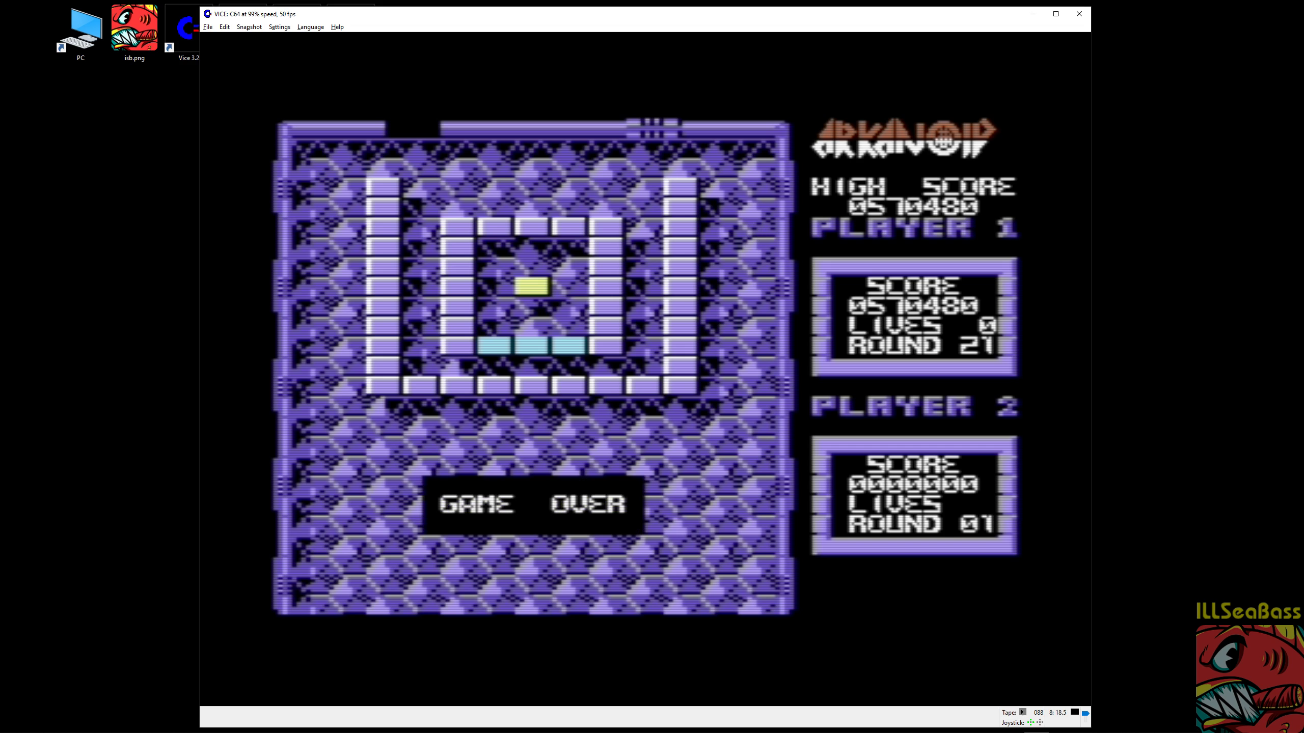 ILLSeaBass: Arkanoid (Commodore 64 Emulated) 570,480 points on 2019-02-21 06:36:25