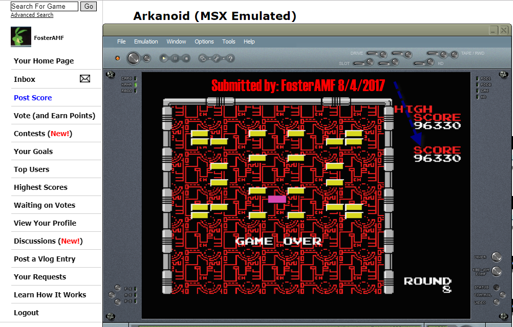 FosterAMF: Arkanoid (MSX Emulated) 96,330 points on 2017-08-04 16:13:26