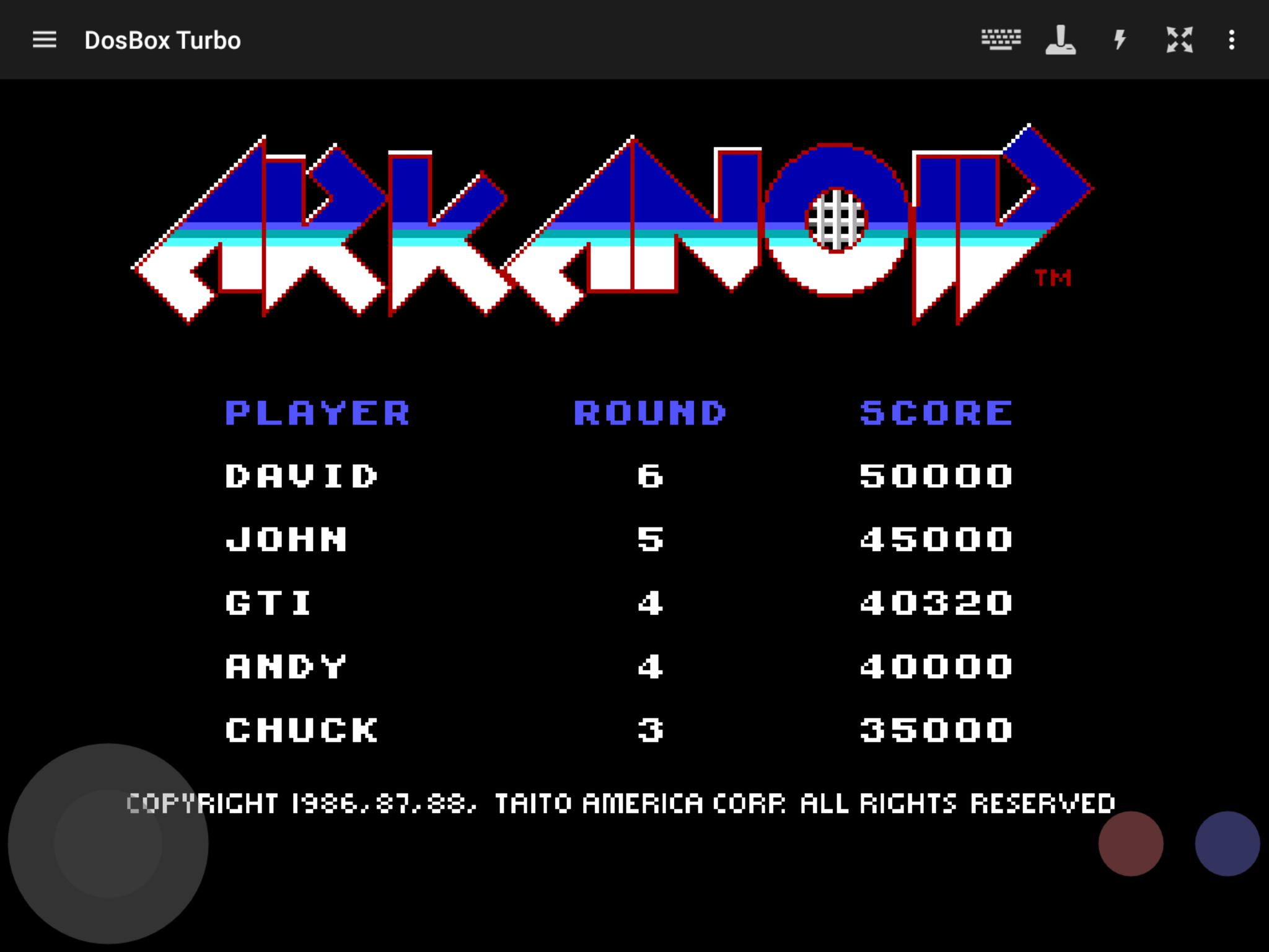 GTibel: Arkanoid (PC Emulated / DOSBox) 40,320 points on 2019-02-03 11:41:05