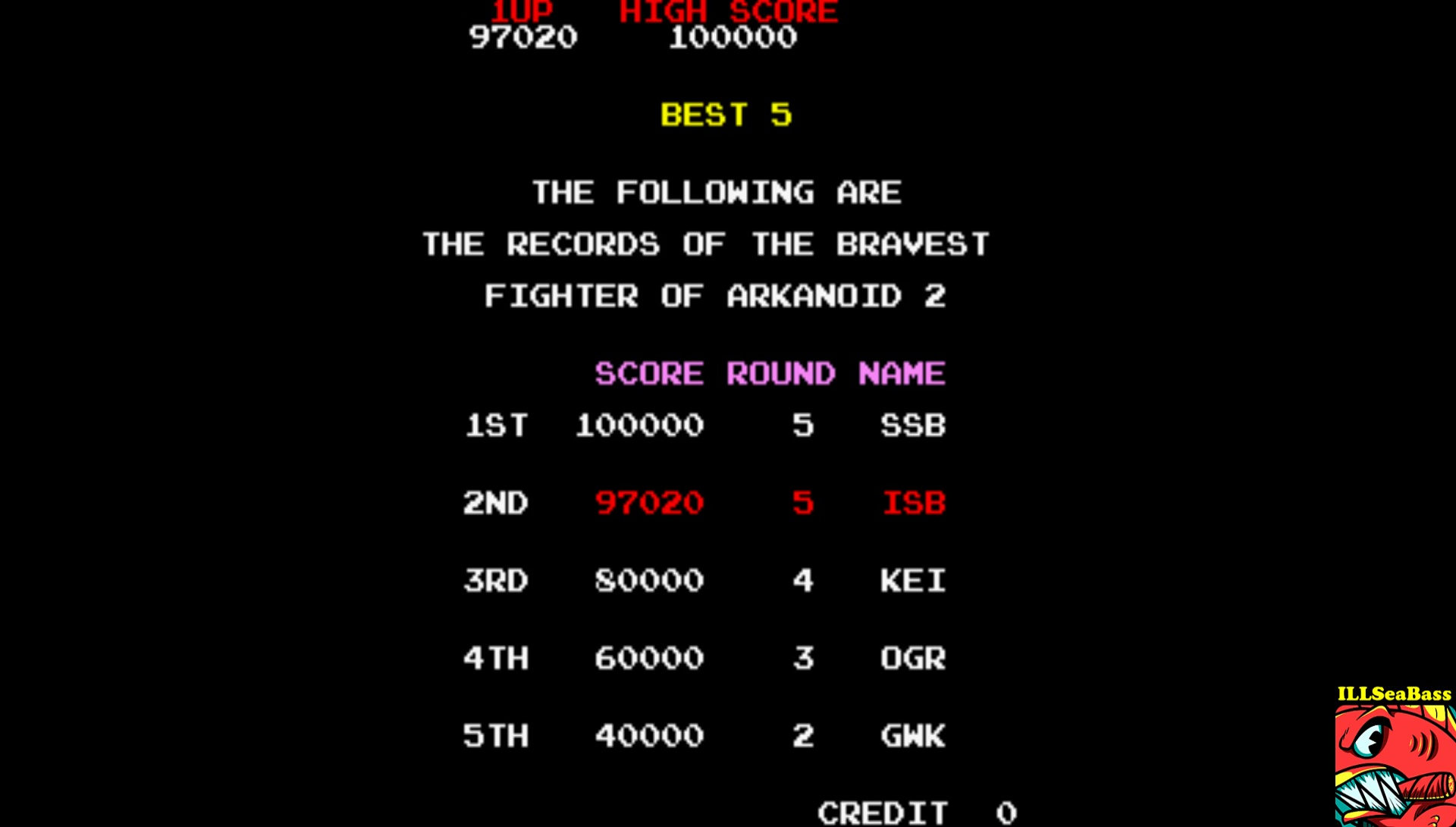 ILLSeaBass: Arkanoid: Revenge of Doh (Arcade Emulated / M.A.M.E.) 97,020 points on 2017-09-05 00:29:53