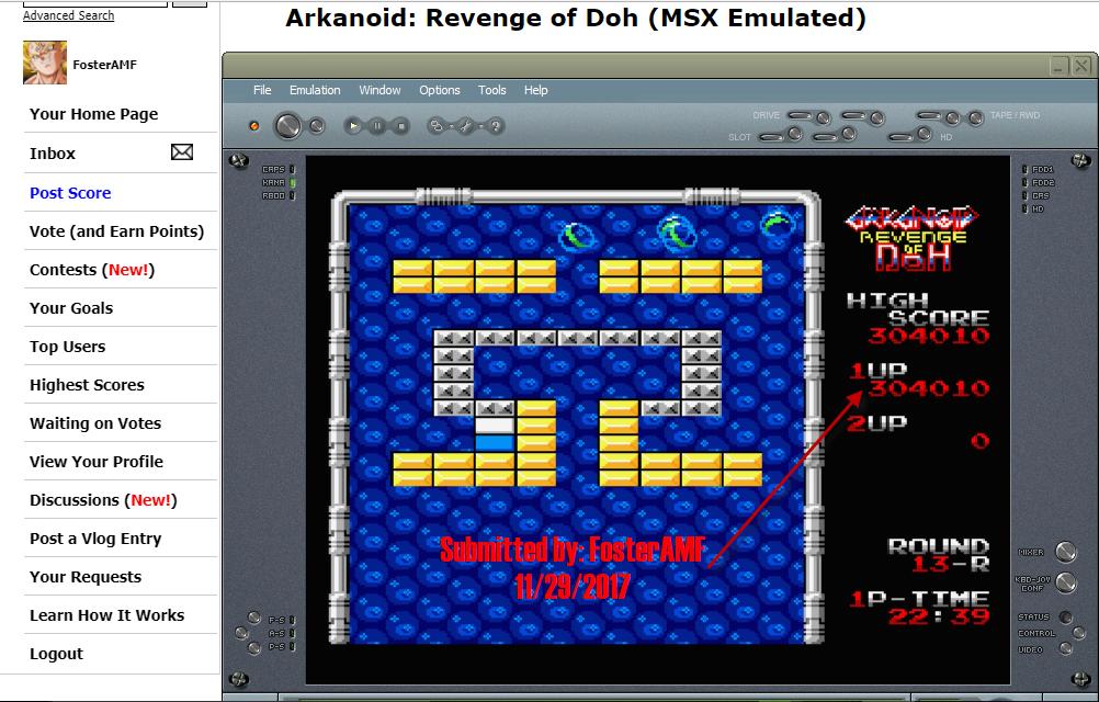 FosterAMF: Arkanoid: Revenge of Doh (MSX Emulated) 304,010 points on 2017-11-29 13:12:21