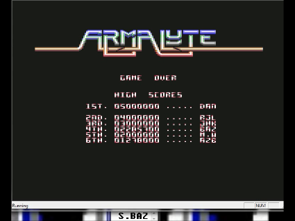 S.BAZ: Armalyte (Commodore 64 Emulated) 2,285,700 points on 2016-05-31 01:45:46