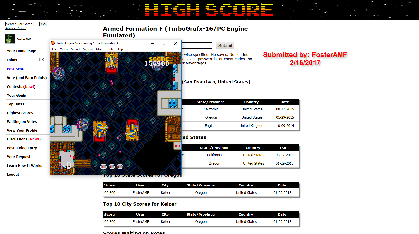 FosterAMF: Armed Formation F (TurboGrafx-16/PC Engine Emulated) 156,400 points on 2017-02-16 18:04:42