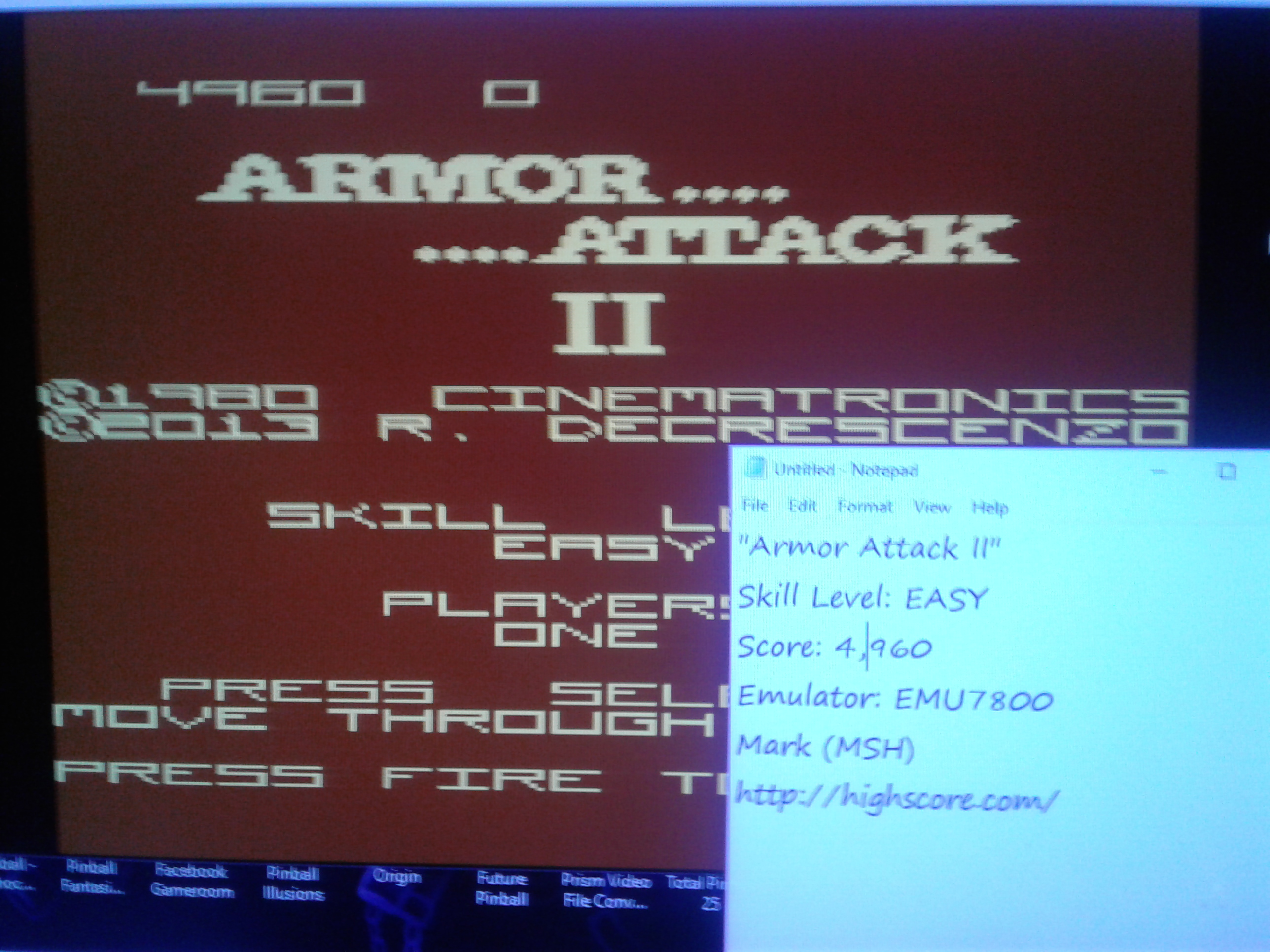 Mark: Armor Attack II [Easy] (Atari 7800 Emulated) 4,960 points on 2019-01-02 22:28:00