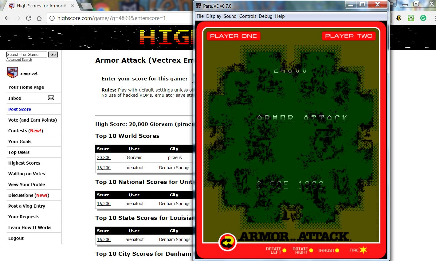 arenafoot: Armor Attack (Vectrex Emulated) 24,600 points on 2017-02-18 23:05:25