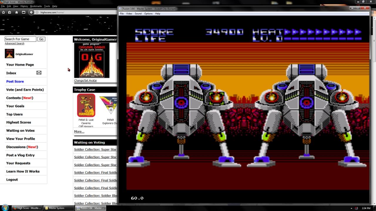 OriginalGamer: Assault City (Sega Master System Emulated) 34,900 points on 2018-02-19 18:04:10