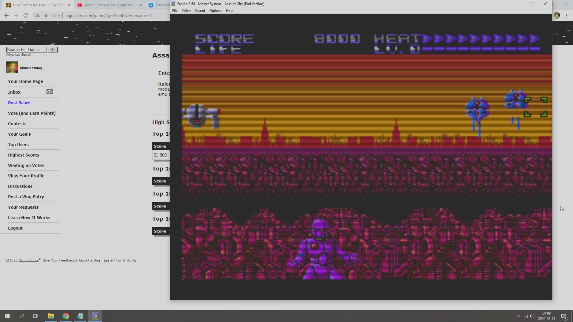 AkinNahtanoj: Assault City (Sega Master System Emulated) 8,000 points on 2020-08-30 17:15:20