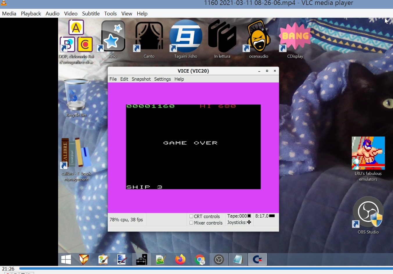 LuigiRuffolo: Asteroids 5 (Commodore VIC-20 Emulated) 1,160 points on 2021-03-11 02:21:44