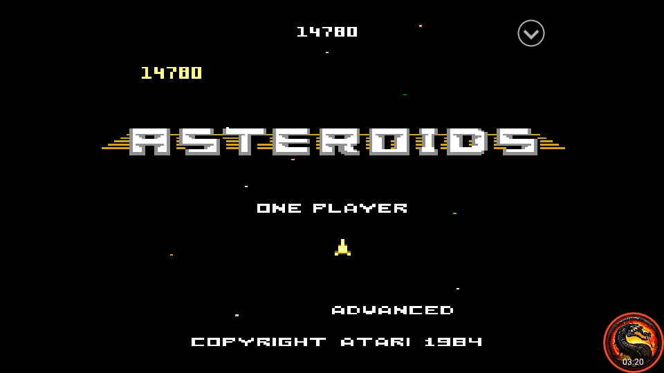 omargeddon: Asteroids: Advanced (Atari 7800 Emulated) 14,780 points on 2020-10-14 01:34:30