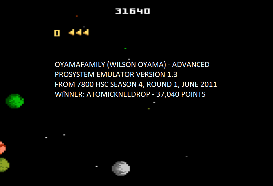 oyamafamily: Asteroids: Advanced (Atari 7800 Emulated) 31,640 points on 2015-08-01 05:26:50