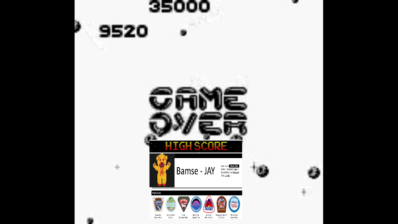 Bamse: Asteroids [Difficulty 2] (Game Boy Emulated) 9,520 points on 2019-10-22 13:21:06