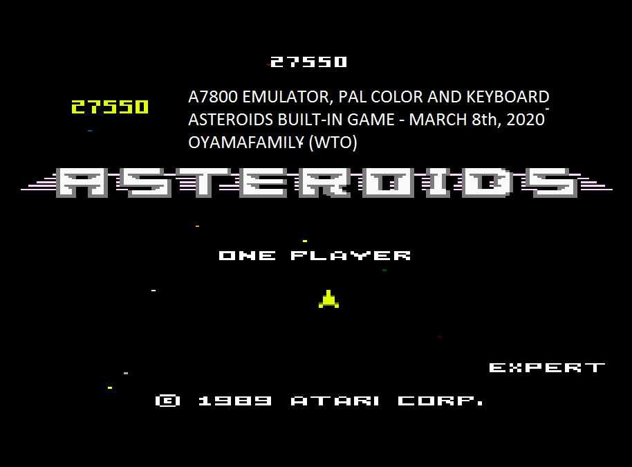 oyamafamily: Asteroids: Expert (Atari 7800 Emulated) 27,550 points on 2020-03-08 13:33:39