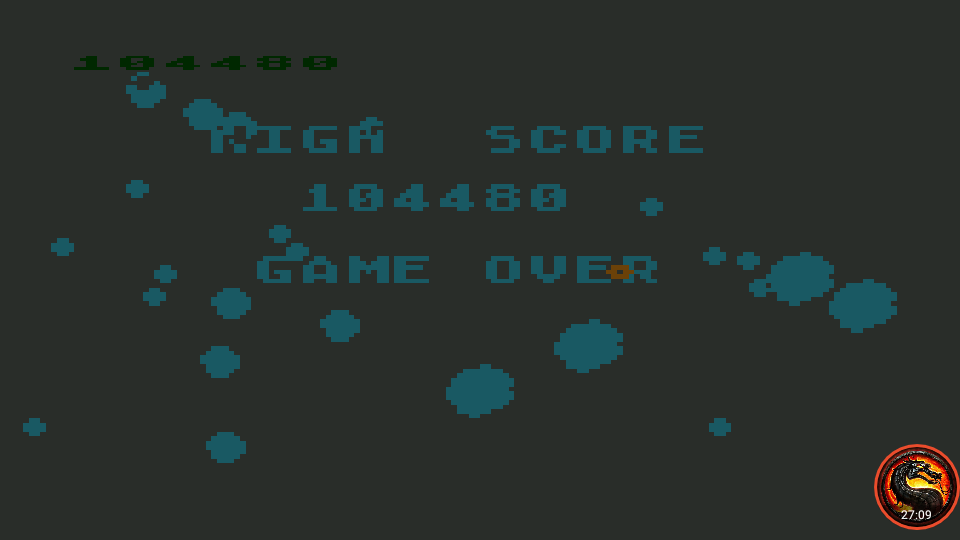 omargeddon: Asteroids: Fast/Flip Over/No Bounce (Atari 400/800/XL/XE Emulated) 104,480 points on 2020-08-02 14:44:28
