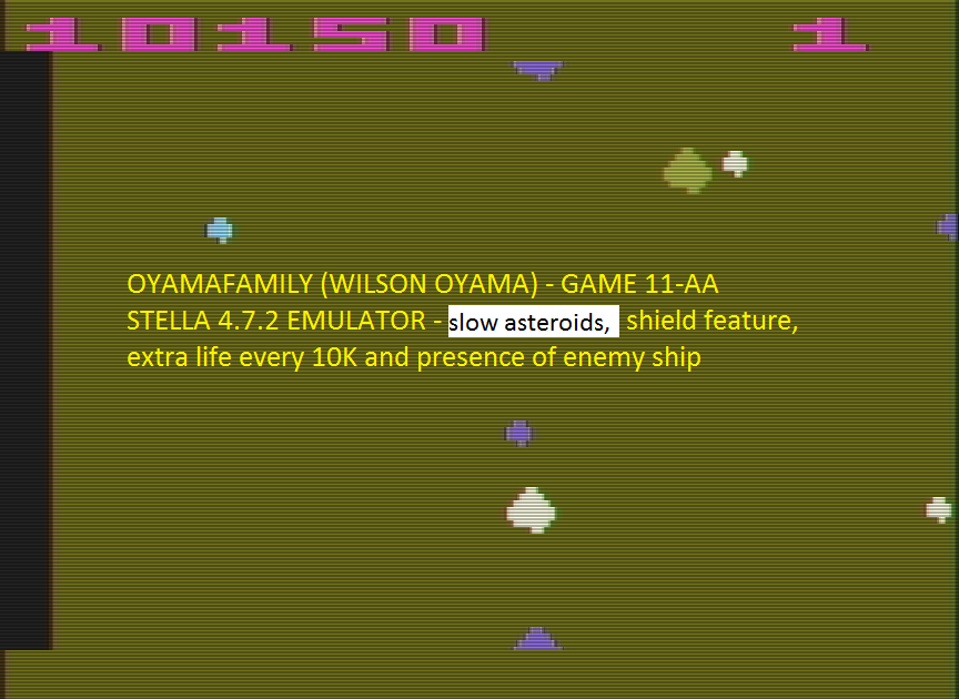 oyamafamily: Asteroids: Game 11 (Atari 2600 Emulated Expert/A Mode) 10,150 points on 2016-07-15 07:30:23