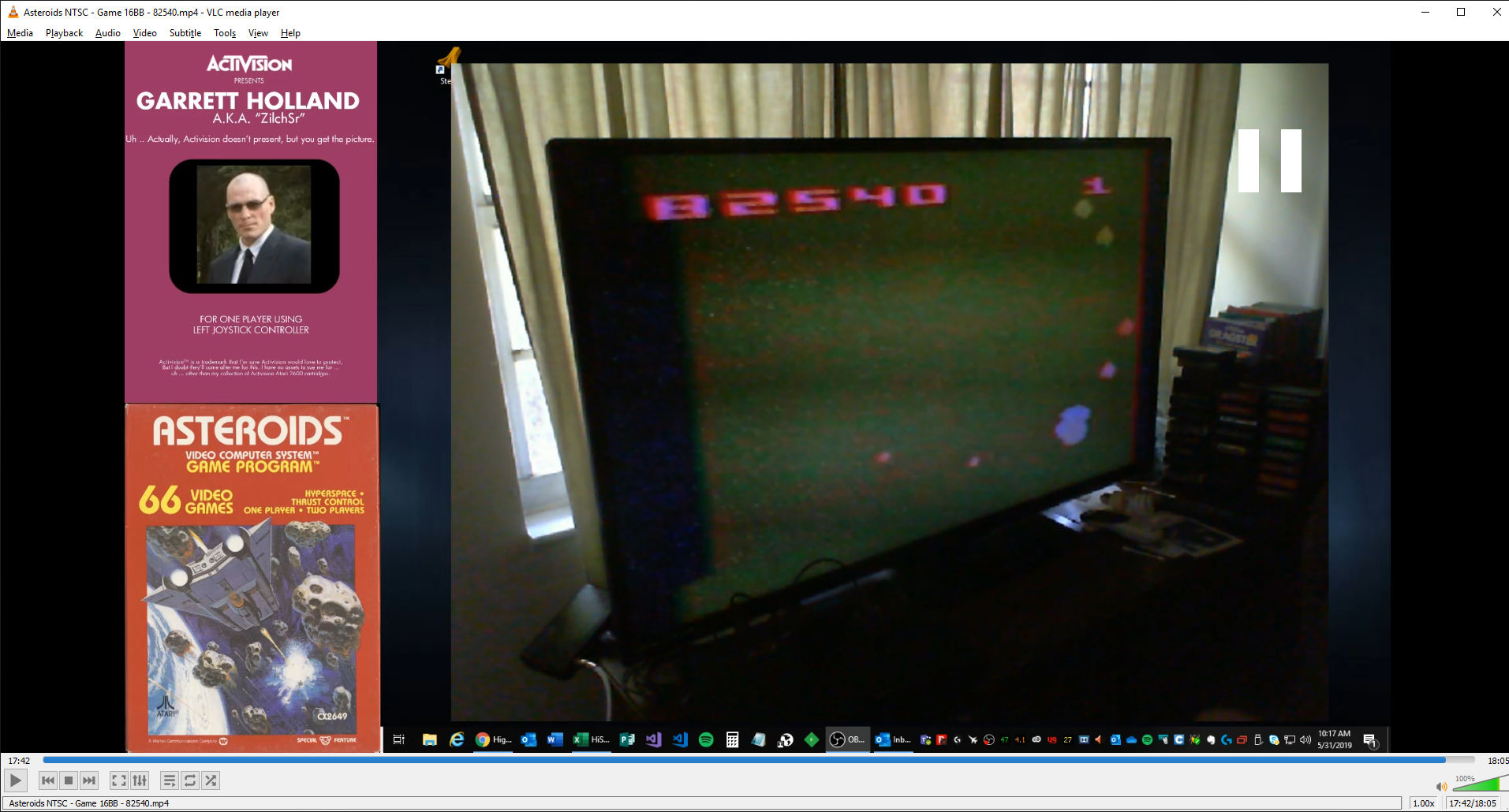 ZilchSr: Asteroids: Game 16 (Atari 2600 Novice/B) 82,540 points on 2019-05-31 09:28:08