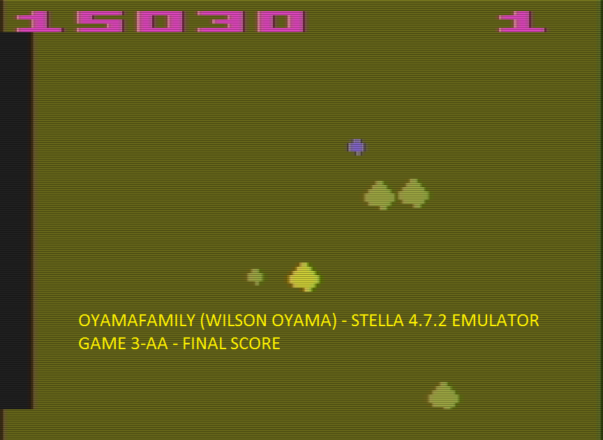oyamafamily: Asteroids: Game 3 (Atari 2600 Emulated Expert/A Mode) 15,030 points on 2016-07-14 14:55:26