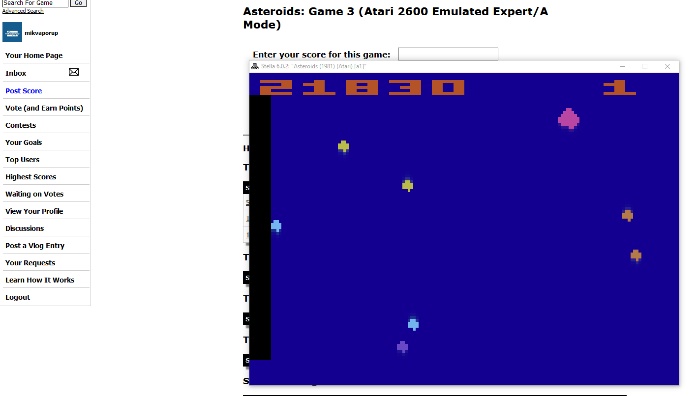 mikvaporup: Asteroids: Game 3 (Atari 2600 Emulated Expert/A Mode) 21,830 points on 2020-02-25 13:26:58