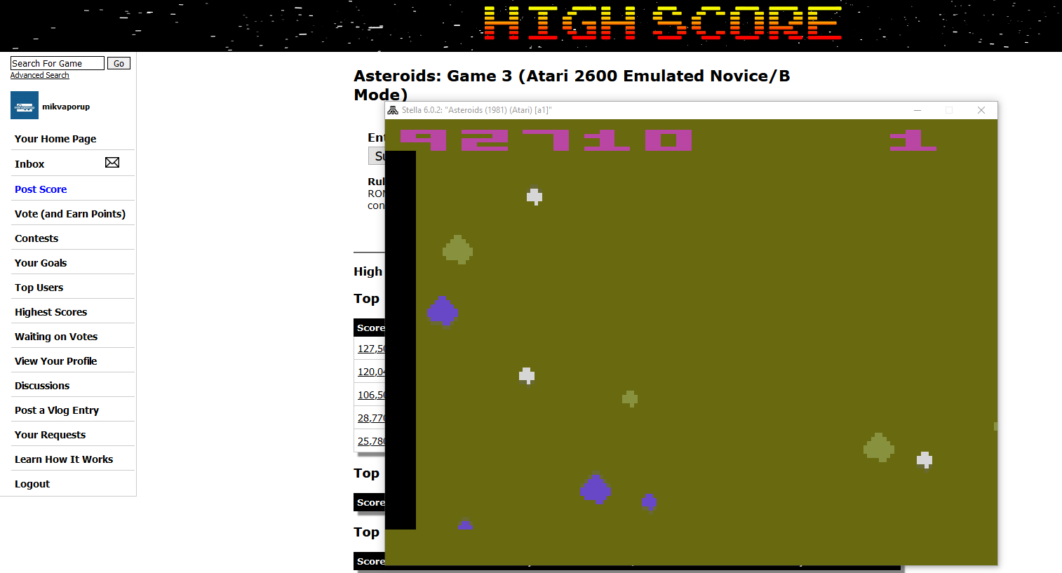mikvaporup: Asteroids: Game 3 (Atari 2600 Emulated Novice/B Mode) 92,710 points on 2020-02-22 14:30:47