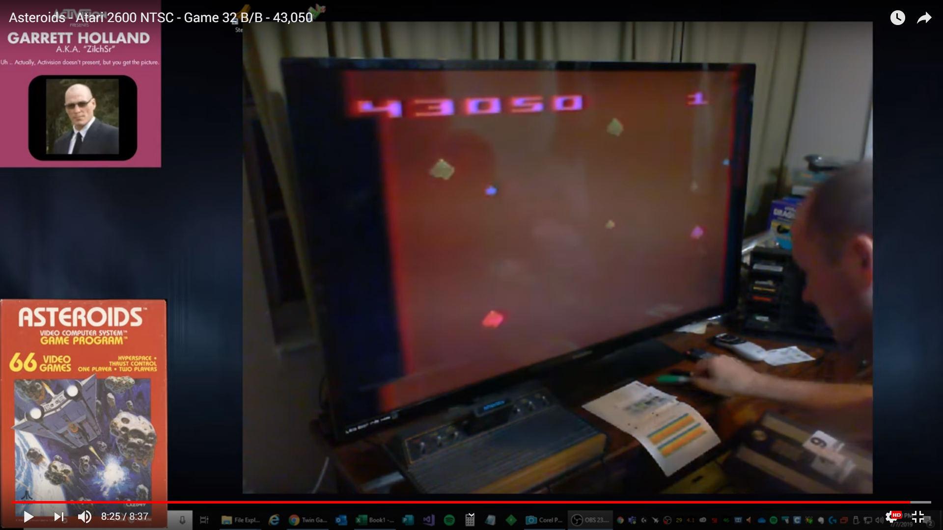 ZilchSr: Asteroids: Game 32 (Atari 2600 Novice/B) 43,050 points on 2019-08-10 18:32:50