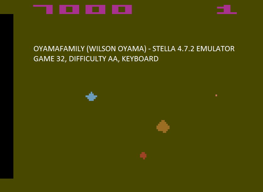 oyamafamily: Asteroids: Game 32 (Atari 2600 Emulated Expert/A Mode) 7,000 points on 2017-04-16 18:20:40