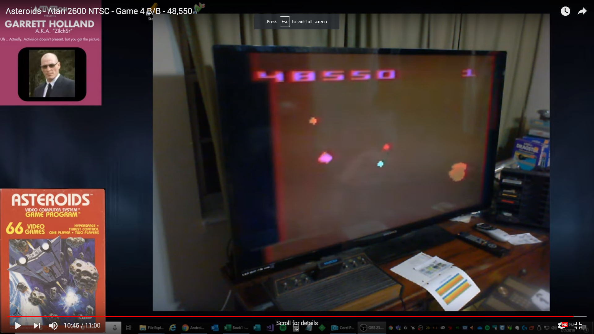 ZilchSr: Asteroids: Game 4 (Atari 2600 Novice/B) 48,550 points on 2019-08-10 18:20:31